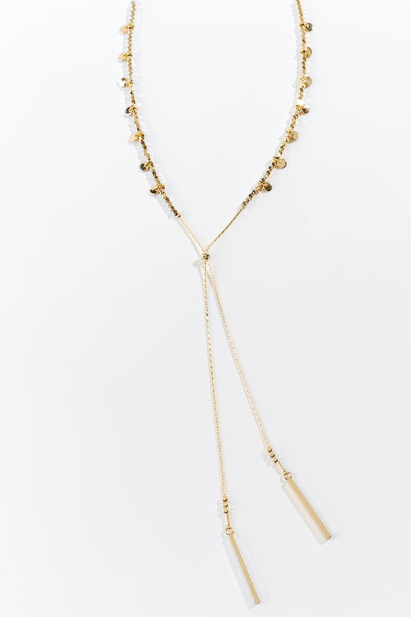 Emily Mini Coin Lariat-  gold-cl