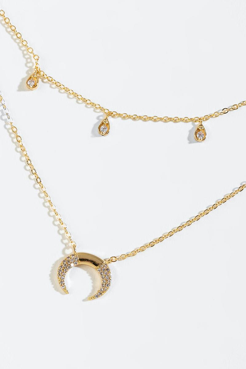 Lola Crescent Pendant Layered Necklace-  gold-cl