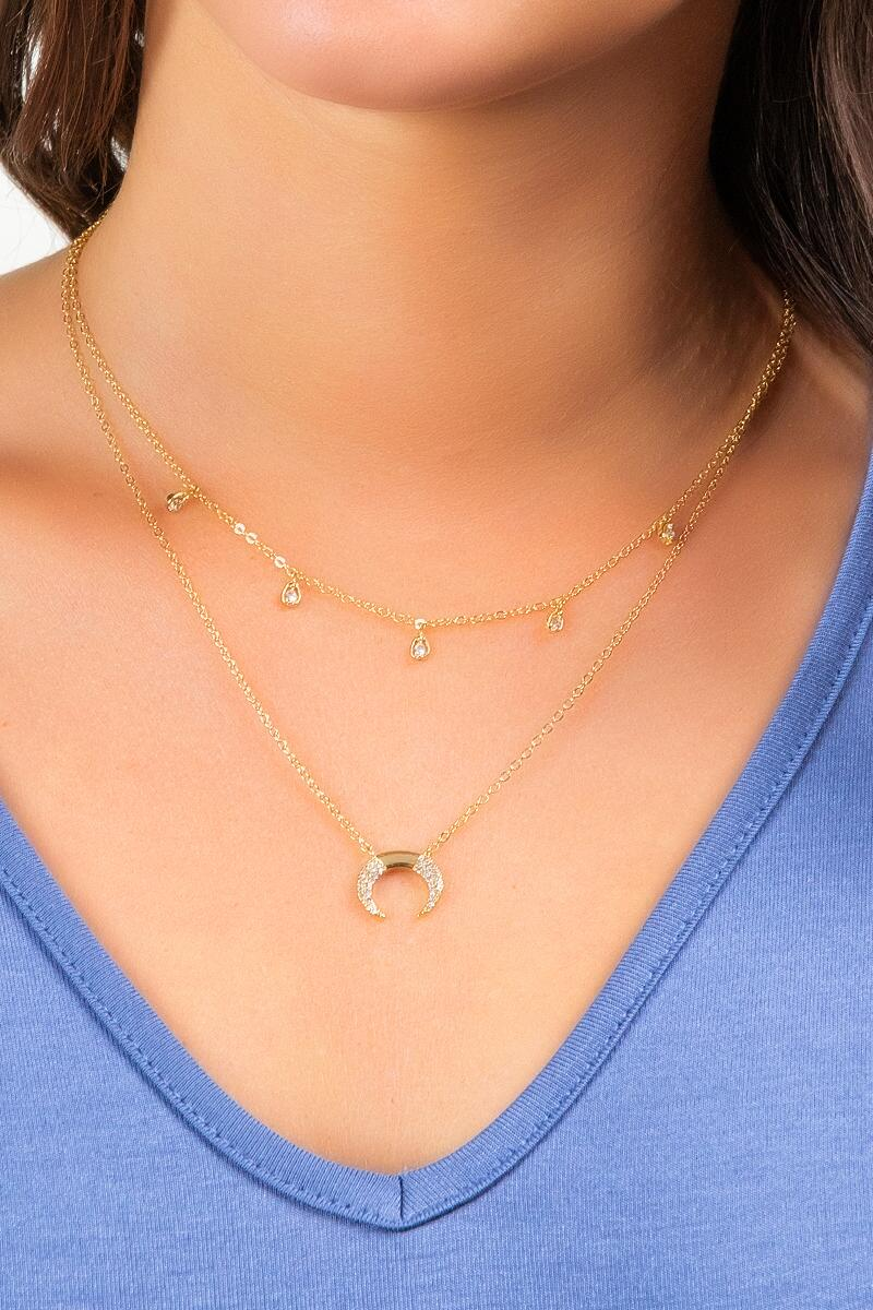 Lola Crescent Pendant Layered Necklace-  gold-cl2