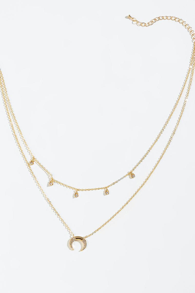 Lola Crescent Pendant Layered Necklace-  gold-cl3