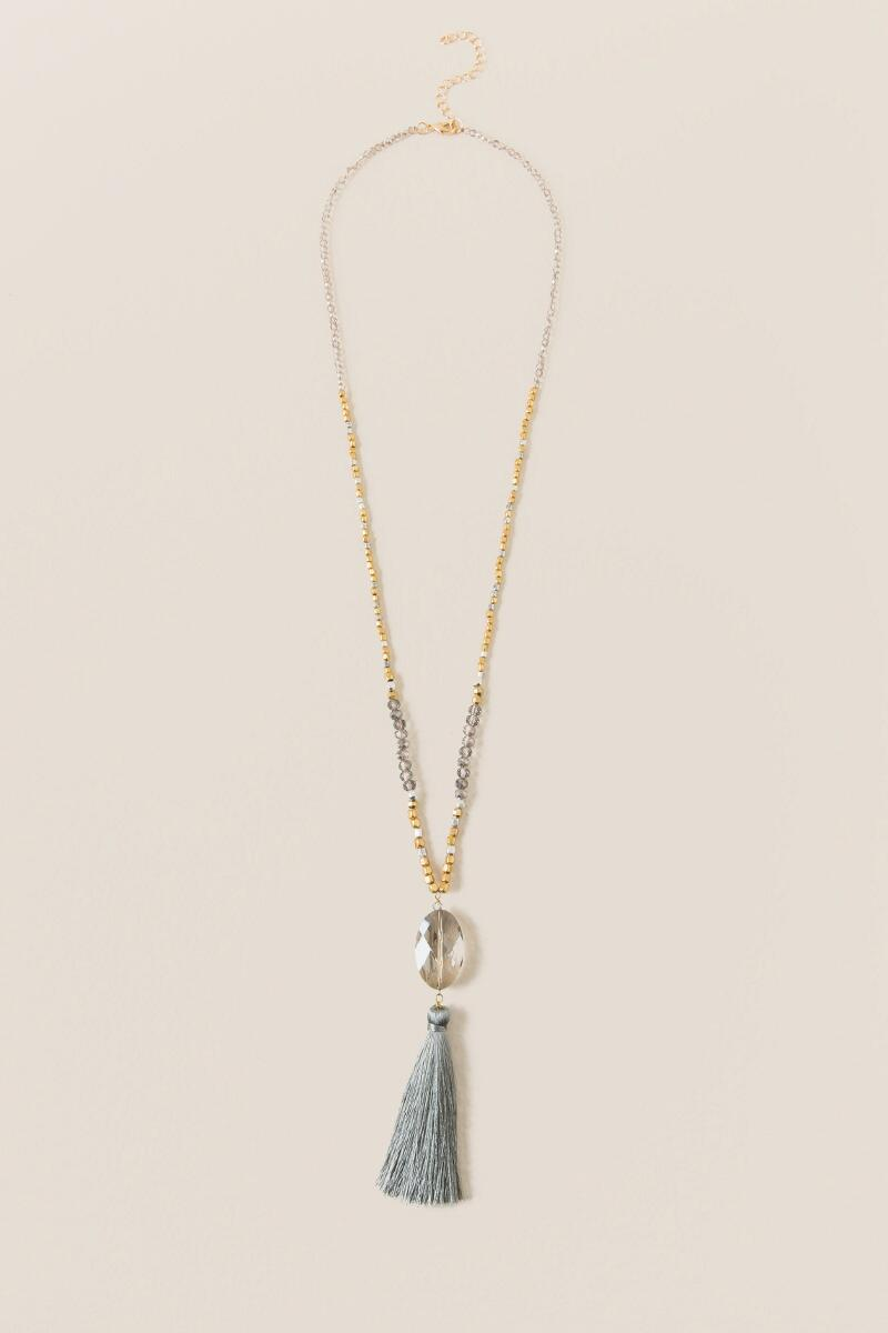 Kylie Glass Beaded Tassel Pendant