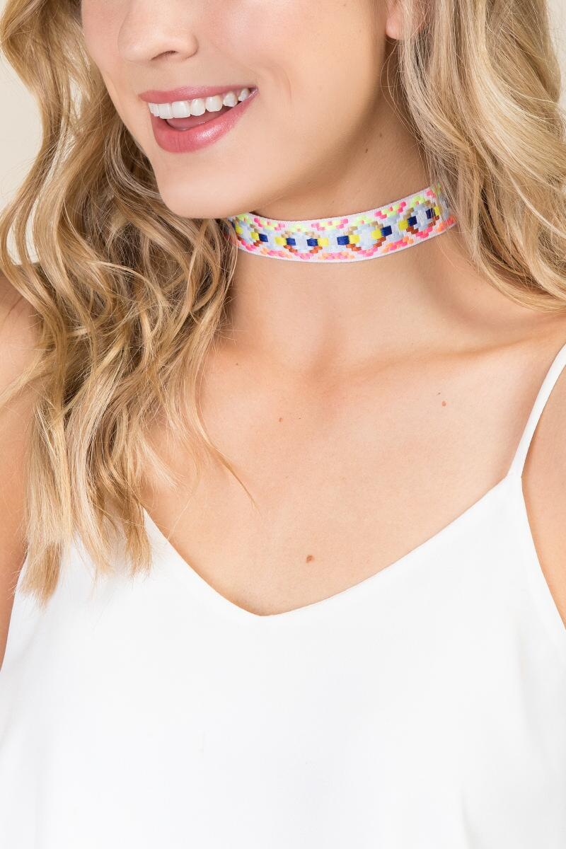Barbados Embroidered Choker-  multi-cl