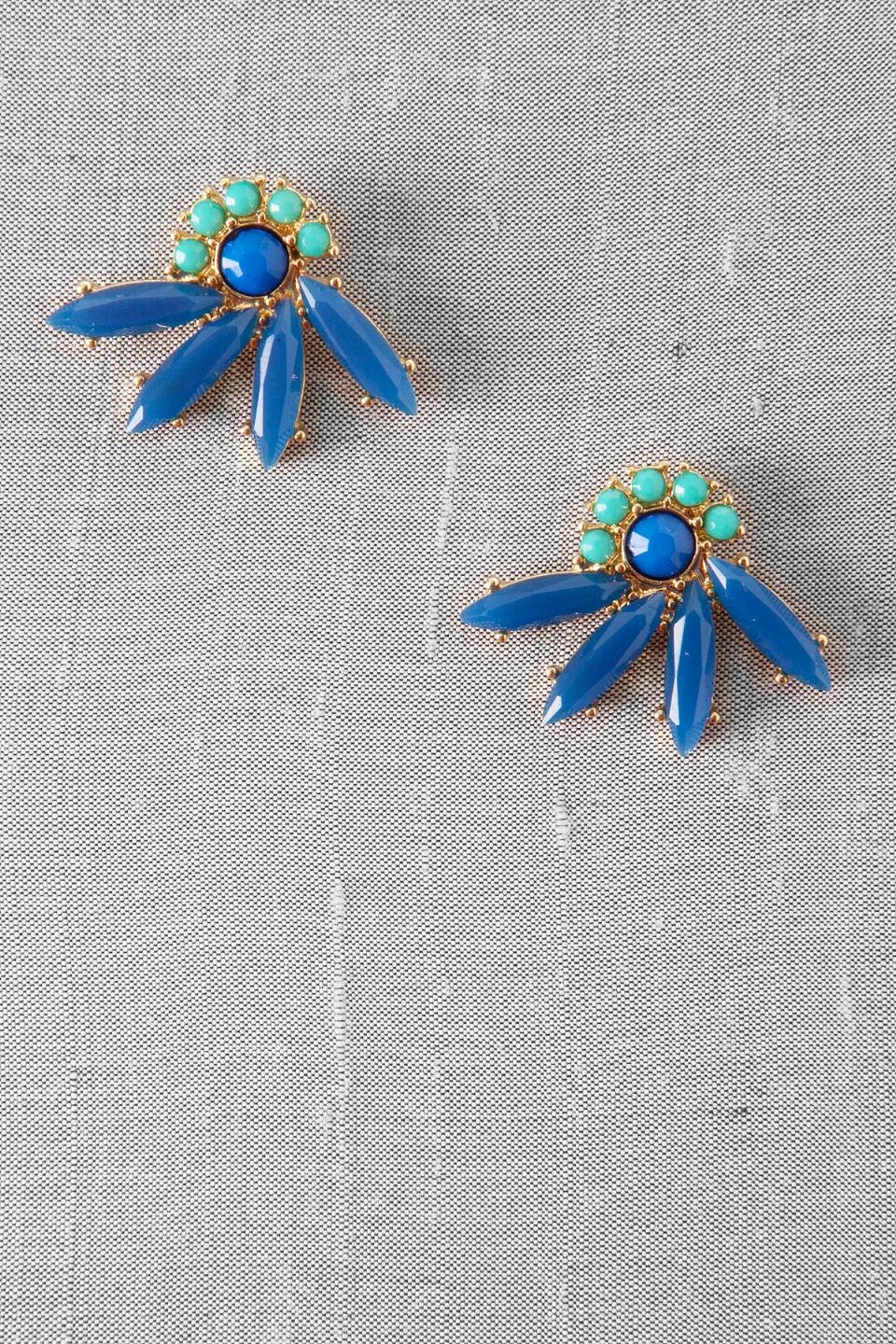 Tahiti Jeweled Fan Studs-  blue-cl