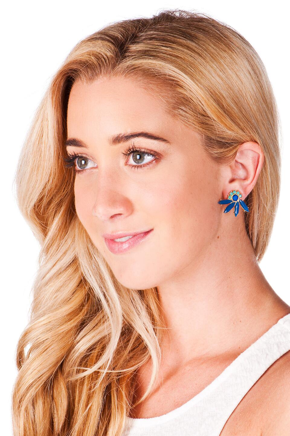 Tahiti Jeweled Fan Studs-  blue-clmodel