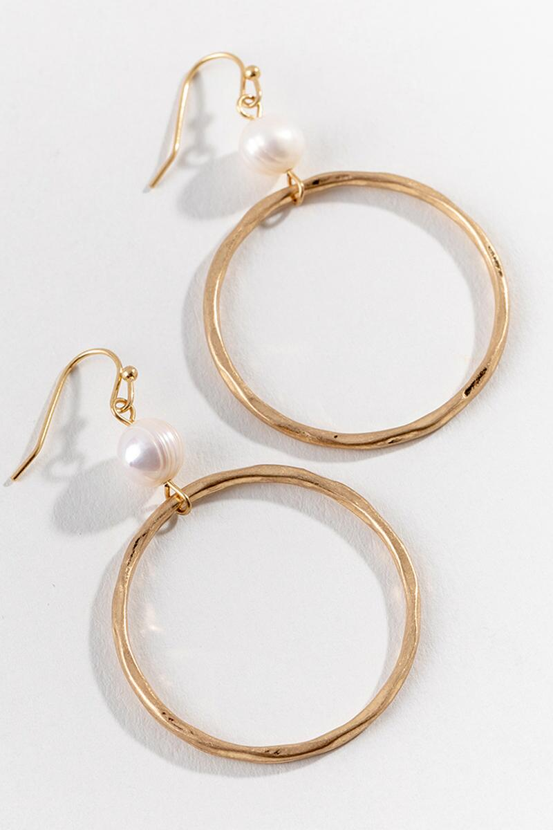 Pia Pearl Circle Drop Earrings in Gold-  gold-cl