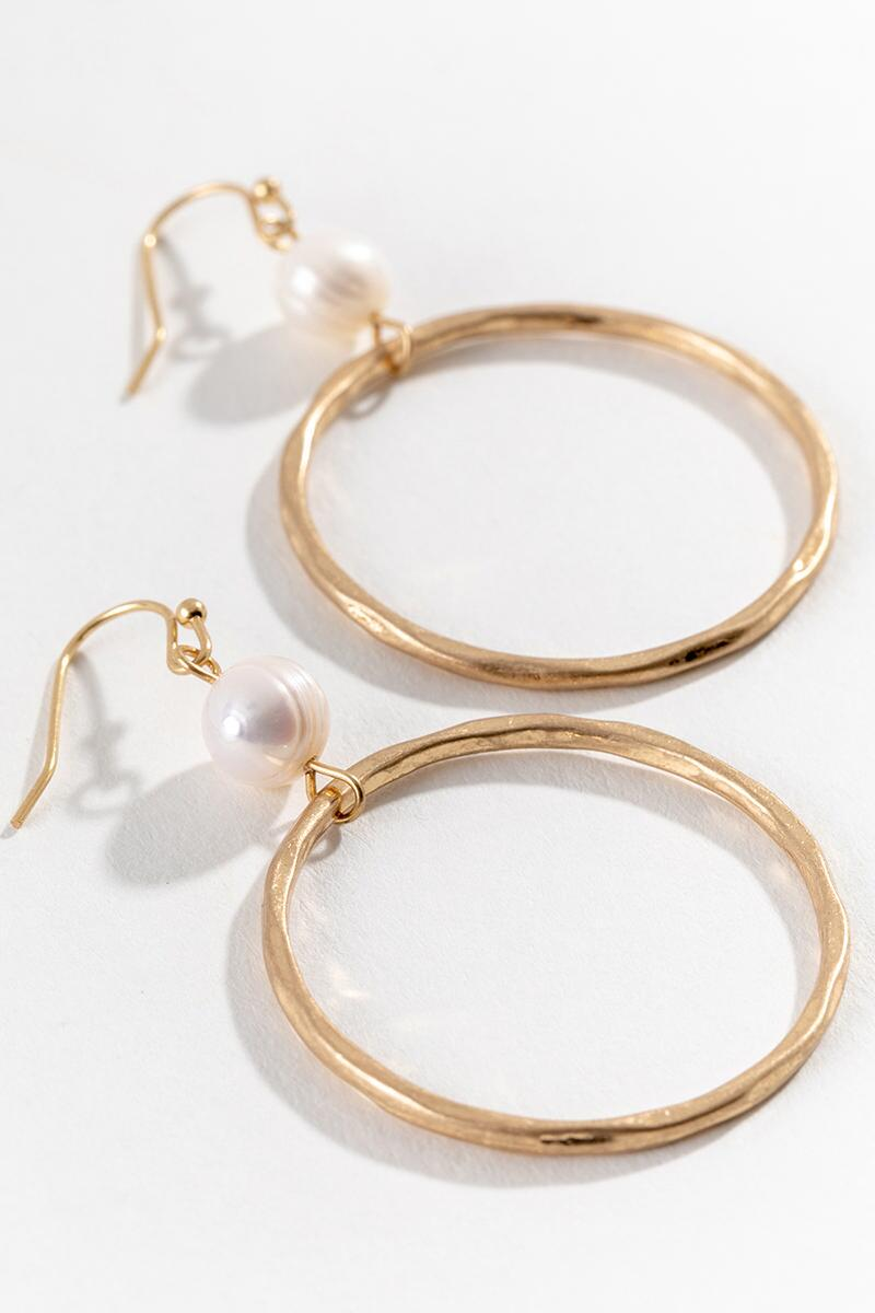 Pia Pearl Circle Drop Earrings in Gold-  gold-cl3