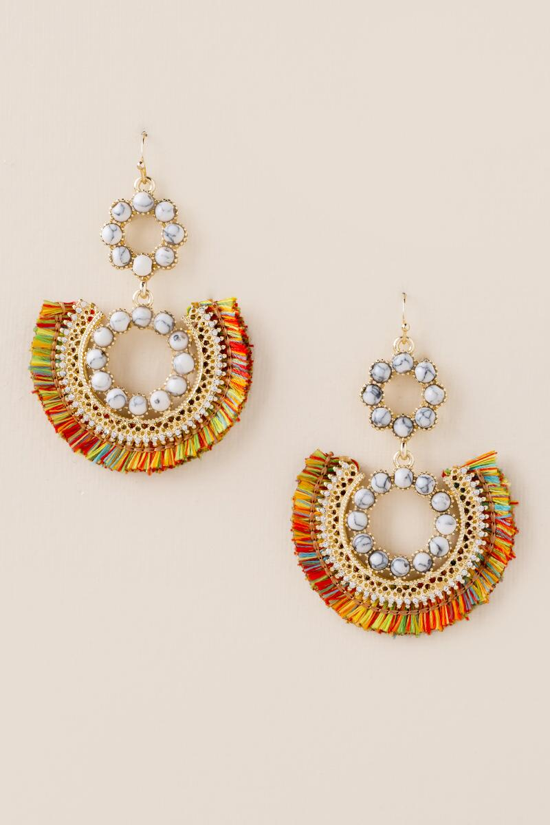 Liv Howlite Tassel Earrings-  multi-cl