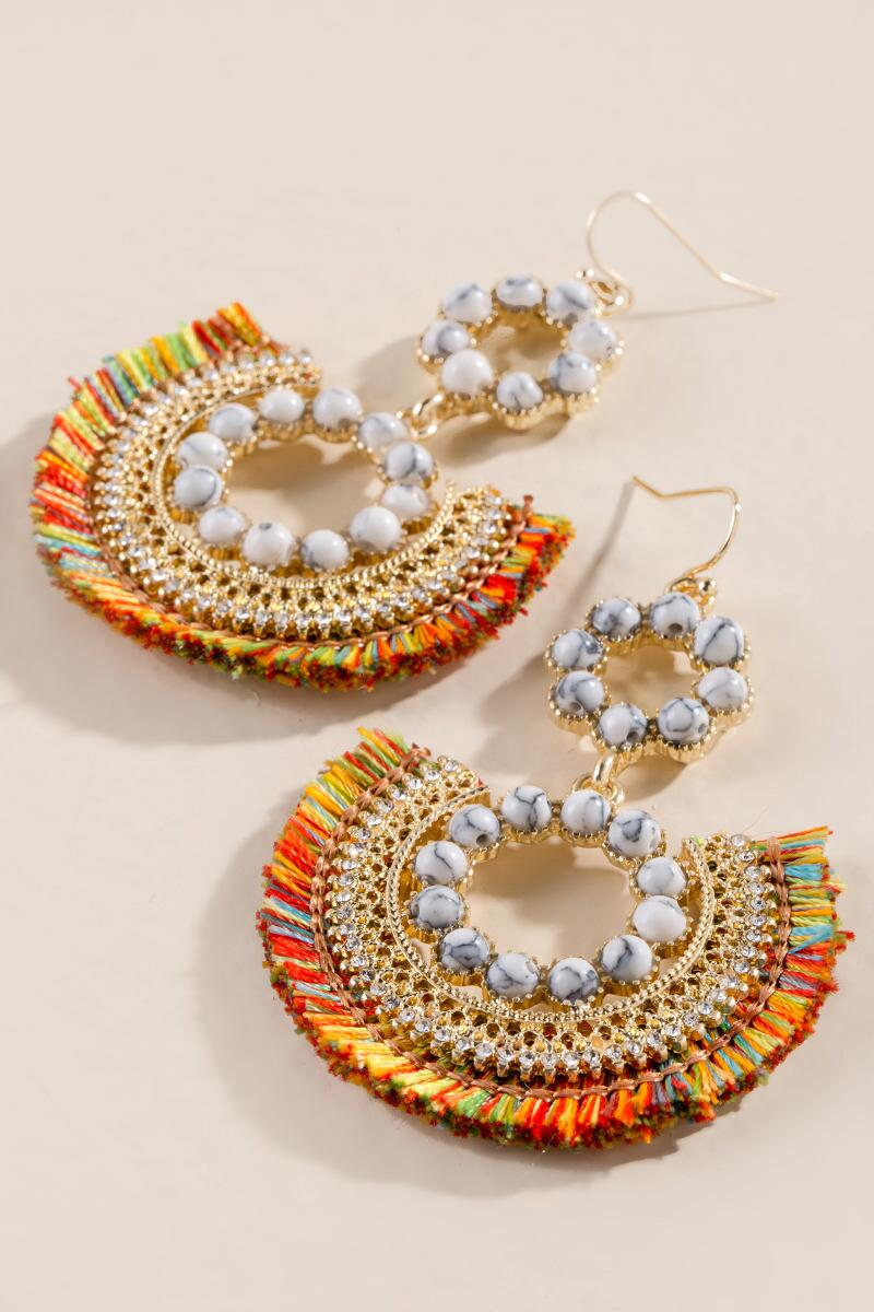 Liv Howlite Tassel Earrings-  multi-clalternate