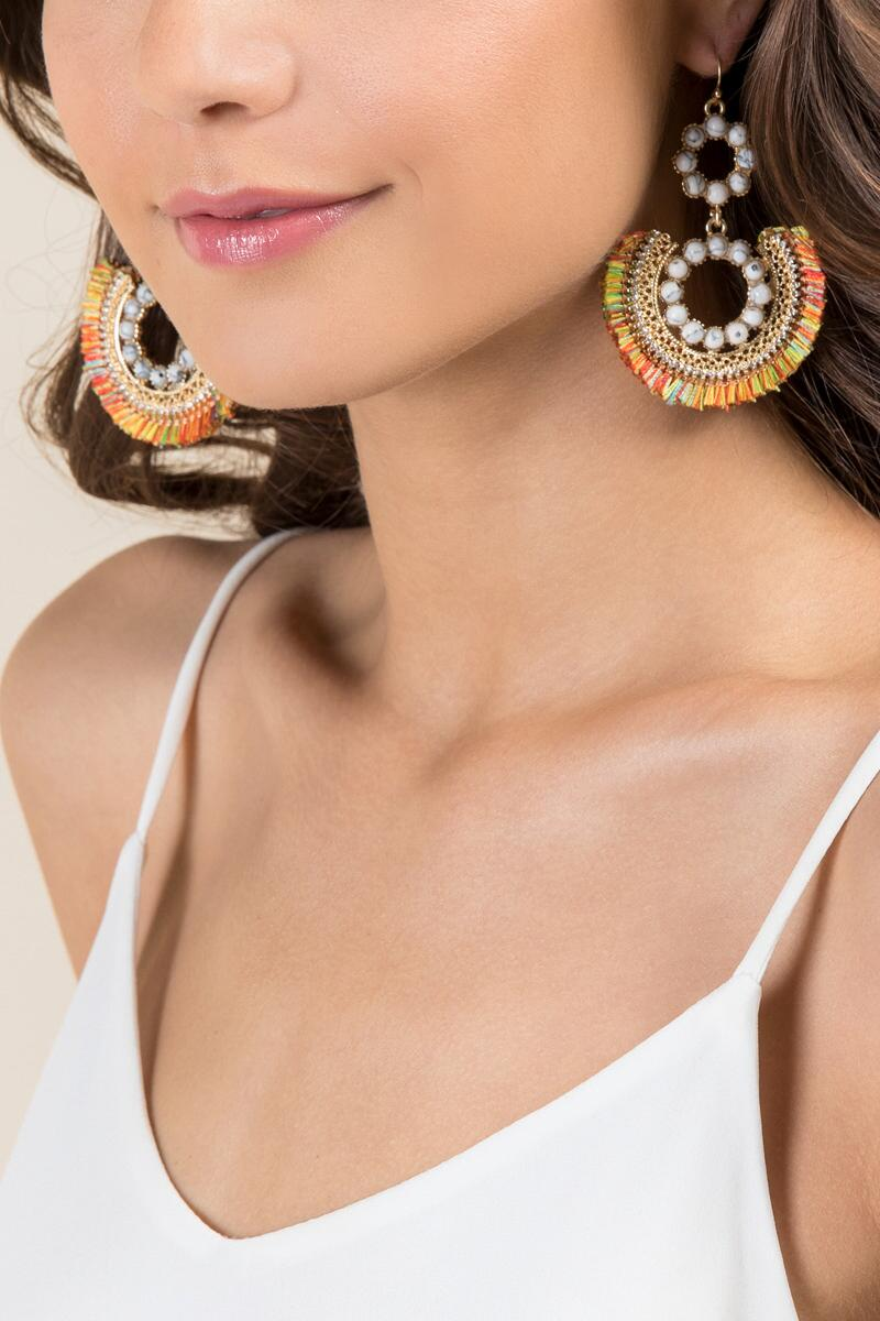 Liv Howlite Tassel Earrings-  multi-clmodel