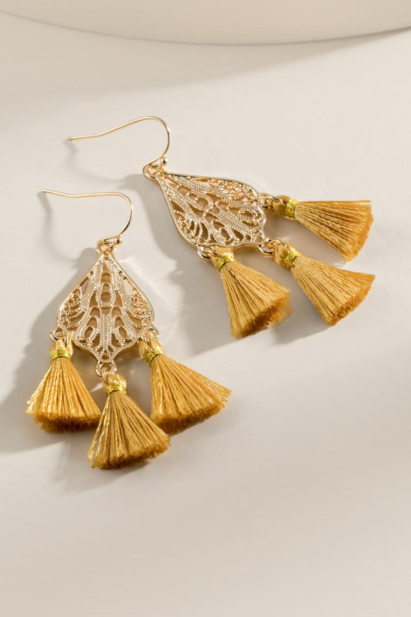 Jadyn Tasseled Filigree Drop Earrings-  musta-cl