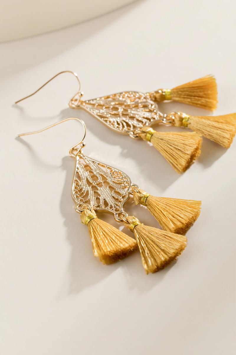 Jadyn Tasseled Filigree Drop Earrings-  musta-clalternate