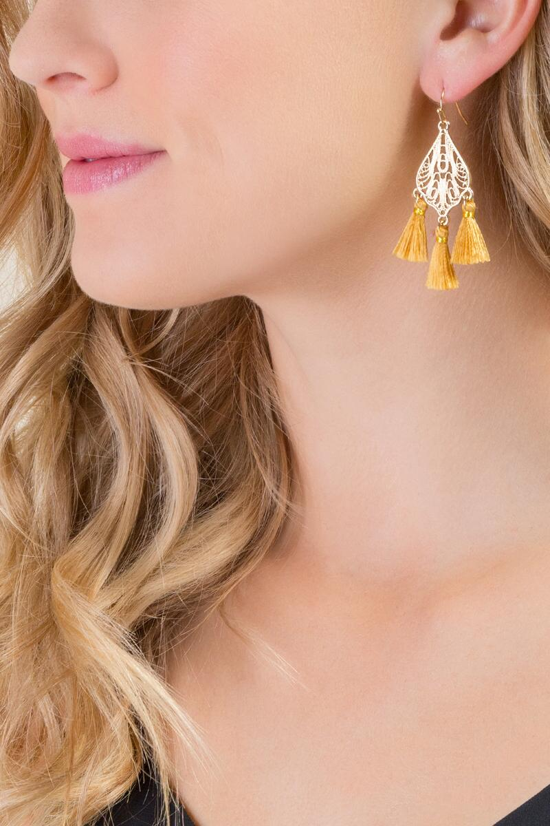 Jadyn Tasseled Filigree Drop Earrings-  musta-clmodel