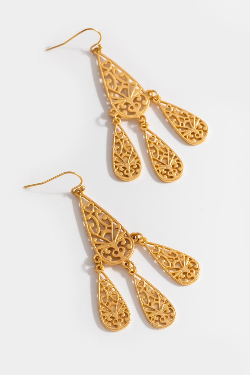 Veda Filigree Chandelier Earrings- Gold