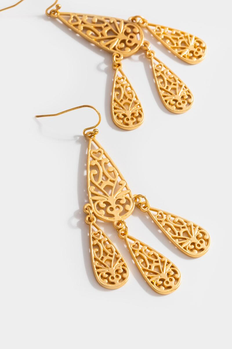 Veda Filigree Chandelier Earrings- Gold 3