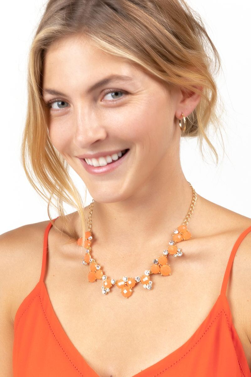 Emily Circle Cluster Statement Necklace in Coral- Neon Coral 3