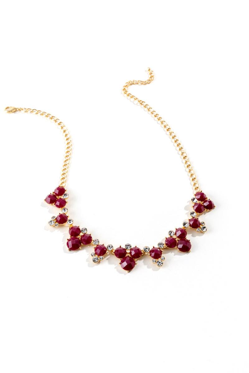 Emily Circle Cluster Statement Necklace in Red- Burgundy