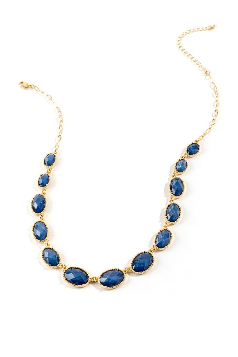 Courtney Oval Statement Necklace in Navy- Navy
