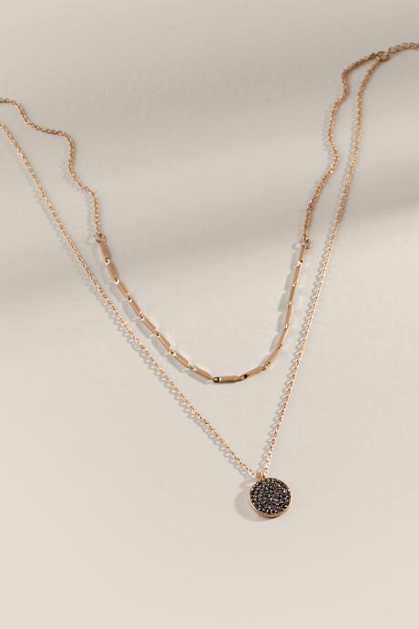 Maris Pavé Stone Coin Layered Necklace