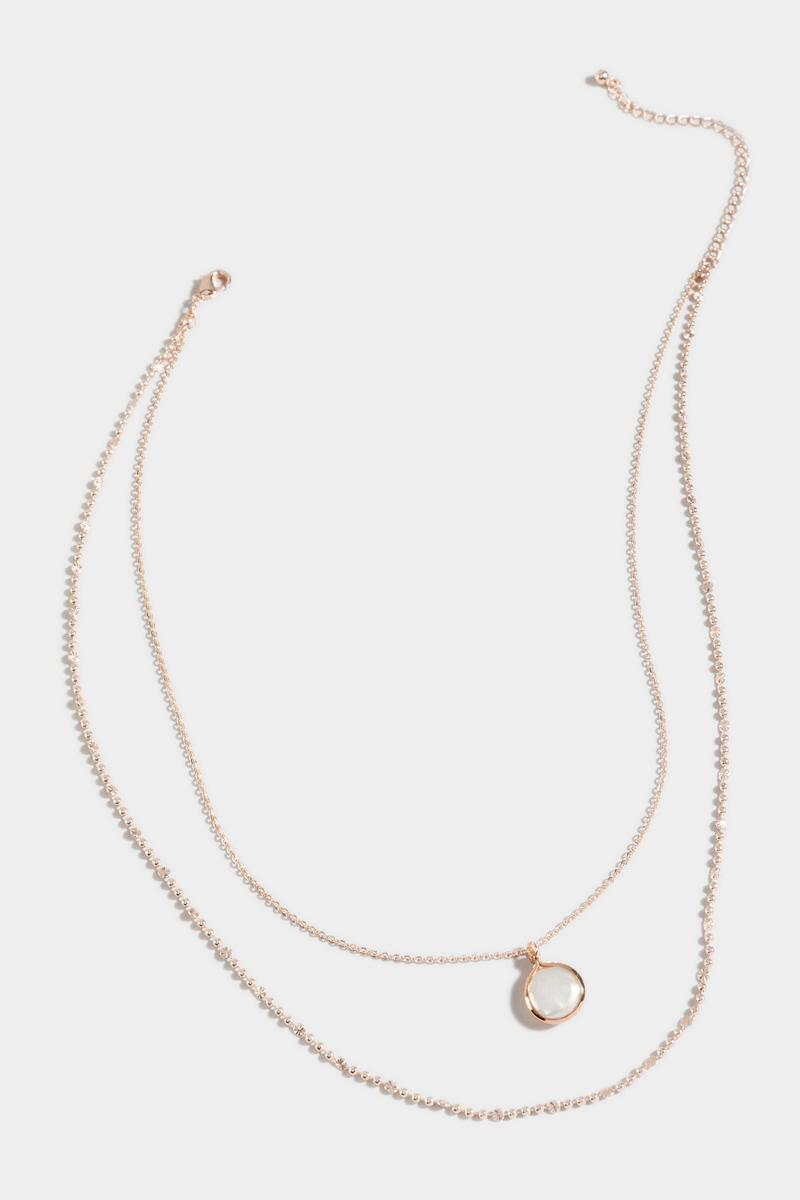 Itzel Freshwater Pearl Layered Necklace- Rose/Gold