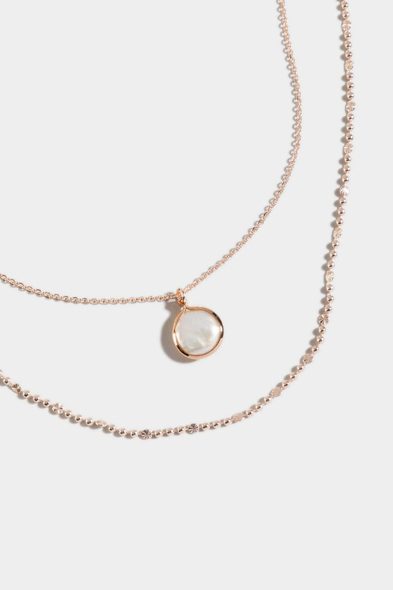 Itzel Freshwater Pearl Layered Necklace- Rose/Gold 3