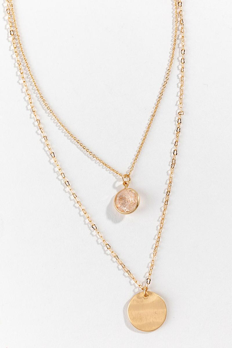 Mckenna Layered Coin Drop Necklace- Gold