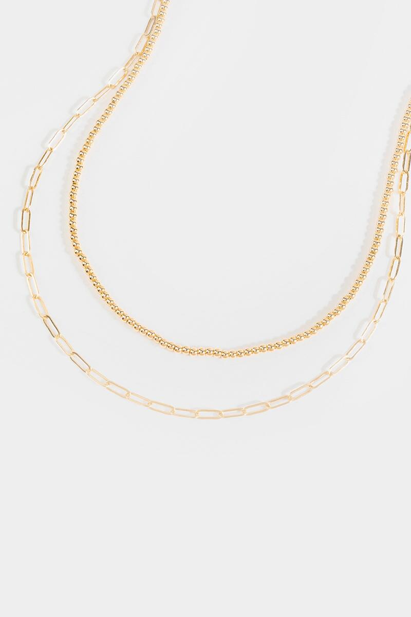 Gail Multi Layer Curb Beaded Necklace- Gold