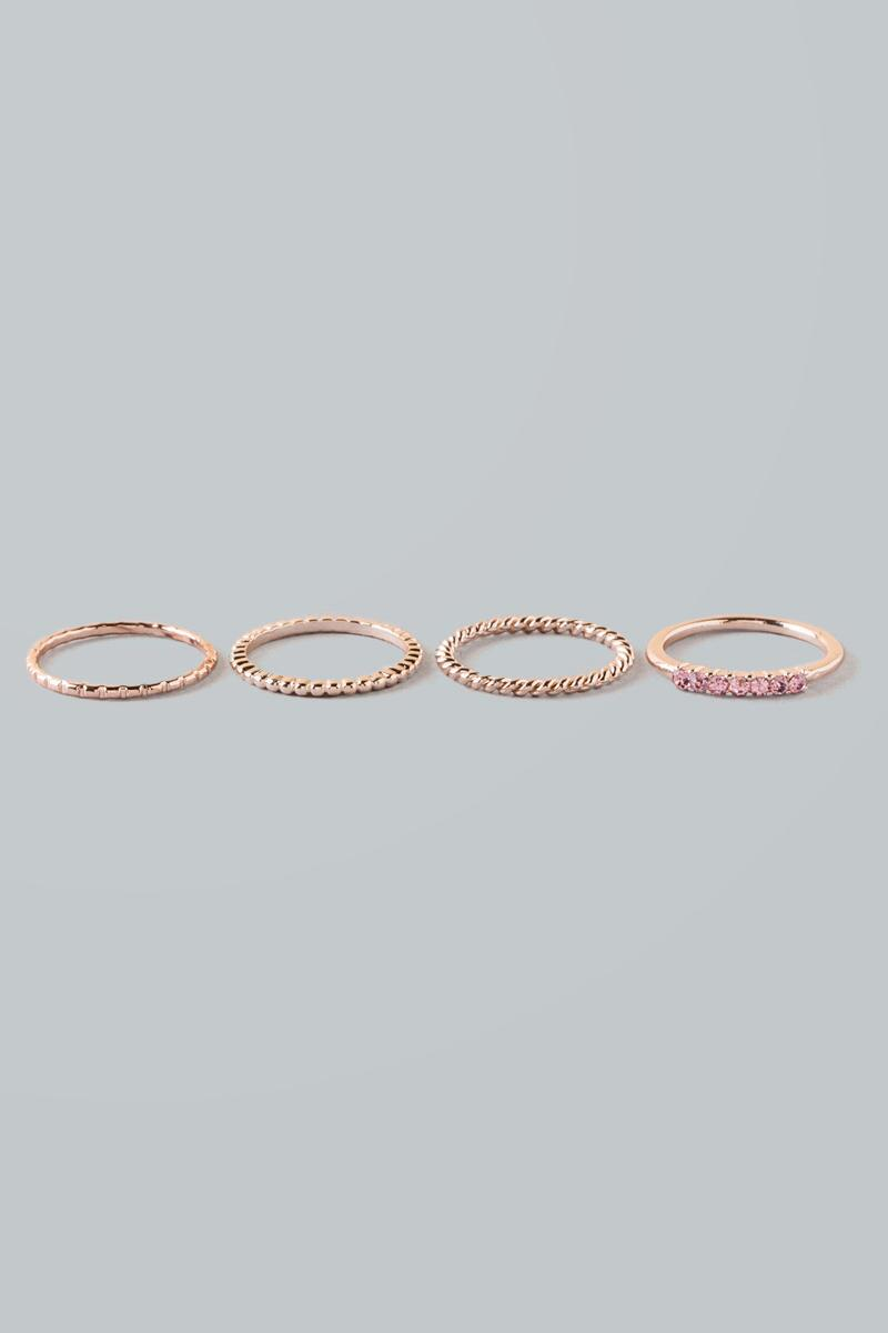 Sharon Ring Stack-  rgold-cl