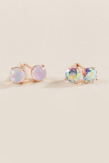 Jade Opal Studs Set In Rose Gold