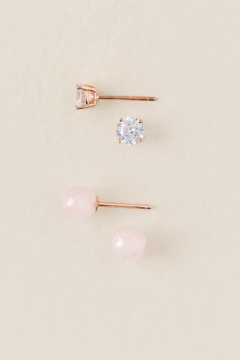 Shelly Cubic Zirconia Studs Set- Rose/Gold