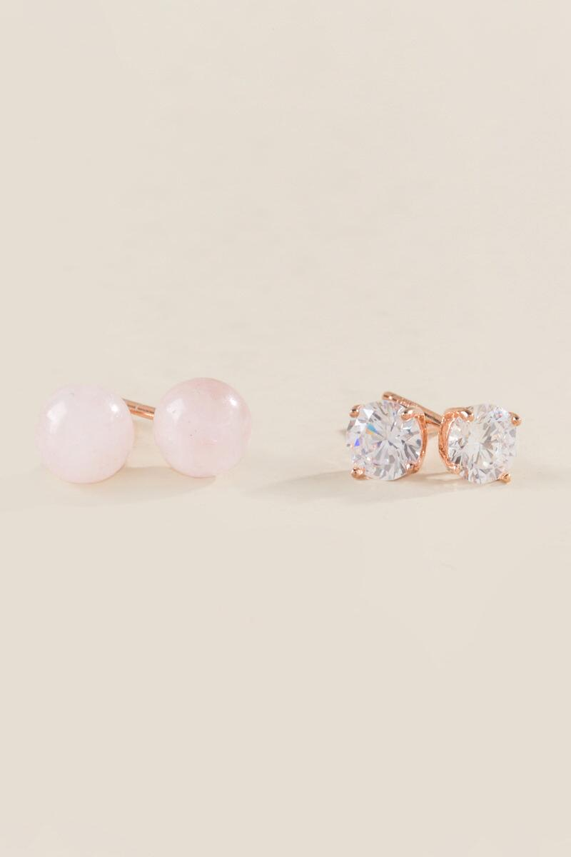 Shelly Cubic Zirconia Studs Set- Rose/Gold alternate