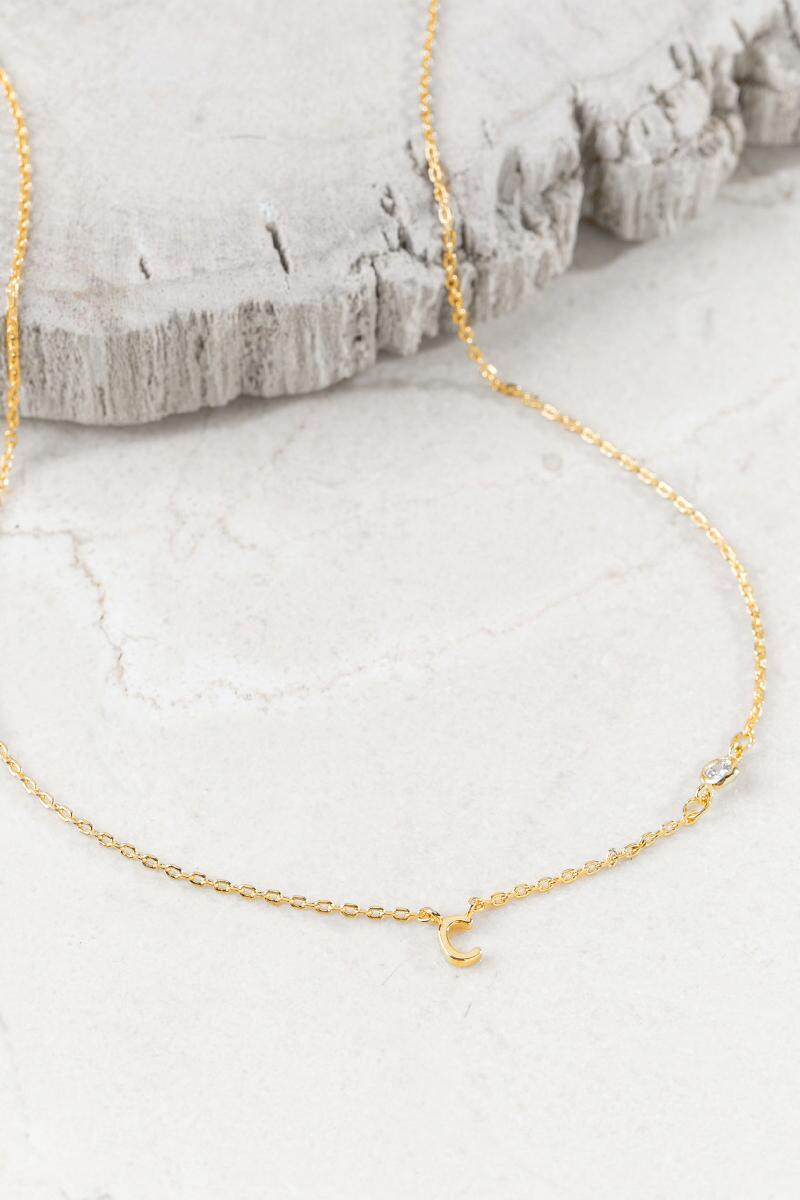 """C"" 14K Initial Necklace-  gold-cl"
