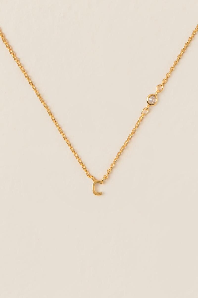 """C"" 14K Initial Necklace-  gold-clalternate"