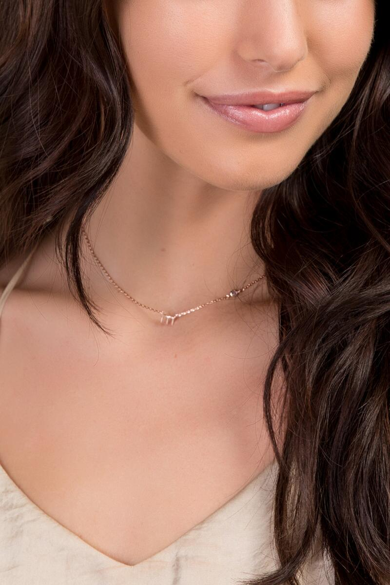 """M"" 14k Initial Necklace in Rose Gold-  rgold-clmodel"