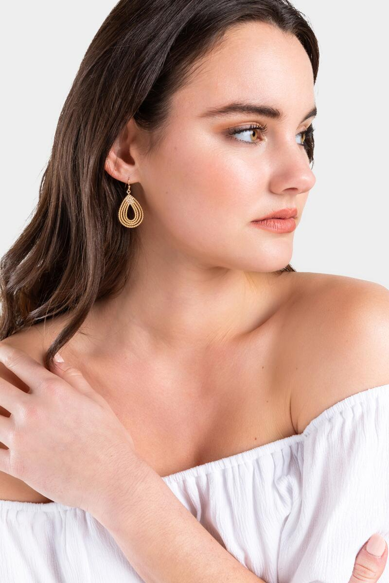 Anika Twisted Teardrop Earrings-  gold-cl2