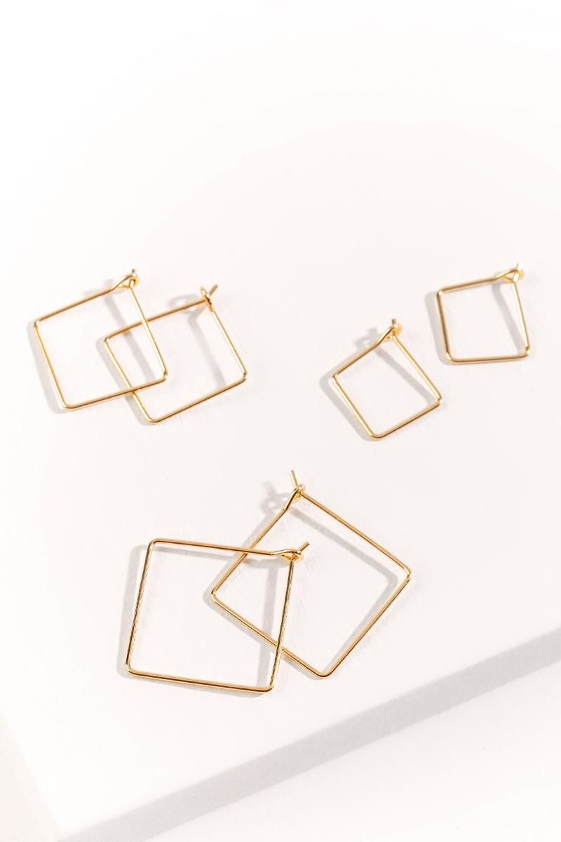 Sofia Square Hoops Set-  gold-cl