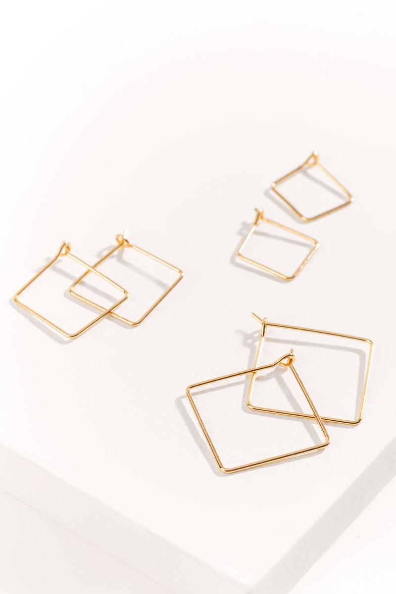 Sofia Square Hoops Set-  gold-cl2