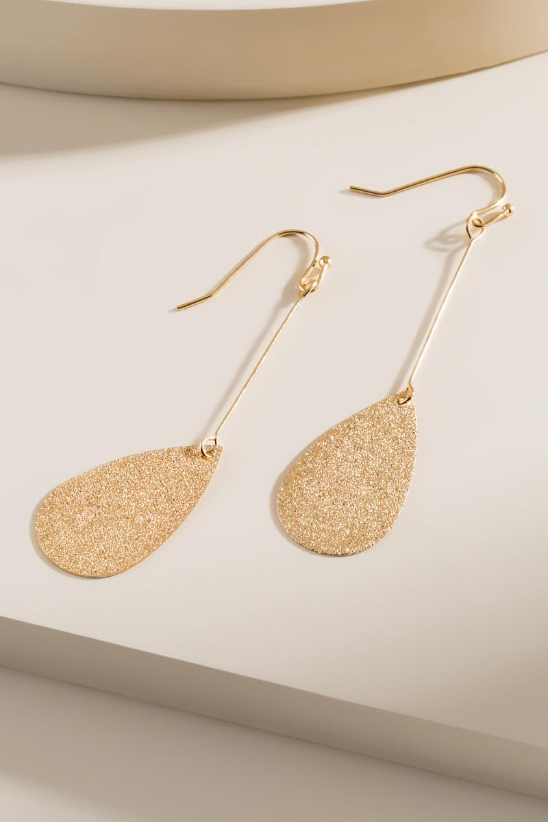 Eden Sandblast Drop Earrings- Gold