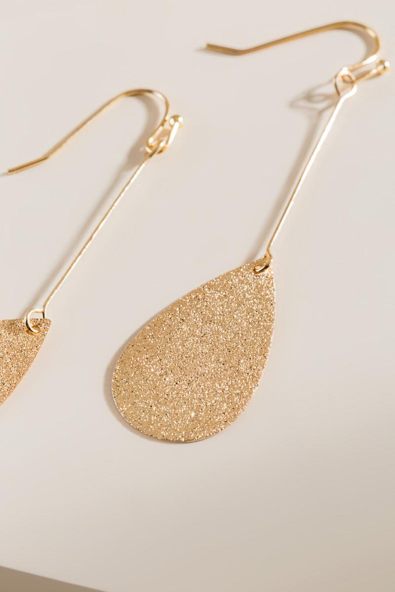 Eden Sandblast Drop Earrings- Gold alternate