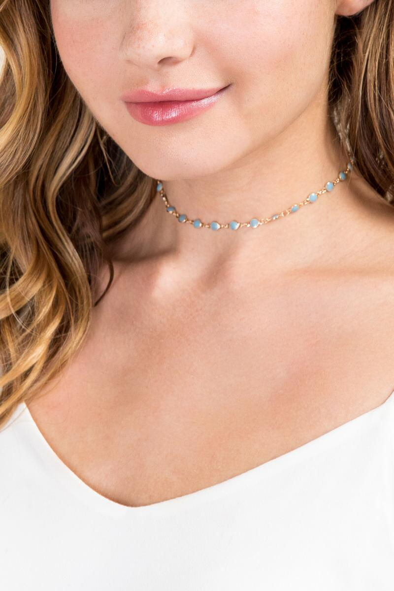 Darcy Delicate Choker-  turq-clmodel