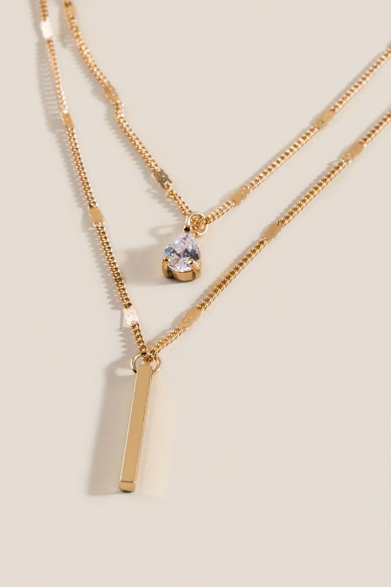 Alexa Layered CZ Pendant Necklace-  gold-clalternate