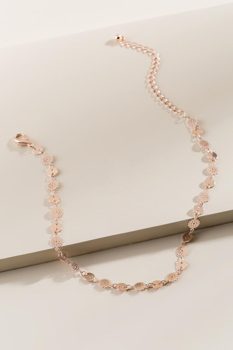 Dina Linked Disc Choker in Rose Gold