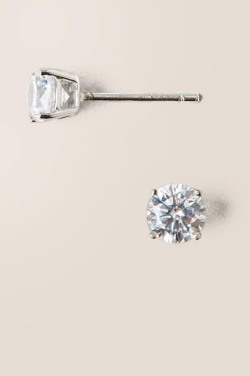 Annalee Cubic Zirconia Studs-  silv-cl