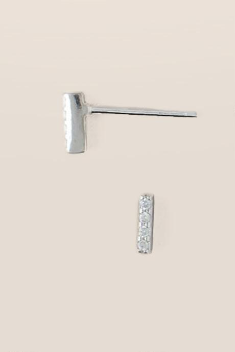 Sterling Silver Mini Vertical Bar Studs