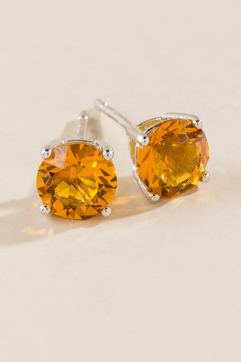 November Birthstone Stud Earrings-  yllw-cl