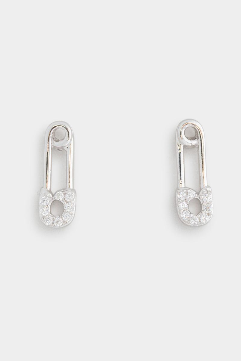 CZ Safety Pins Studs- Silver