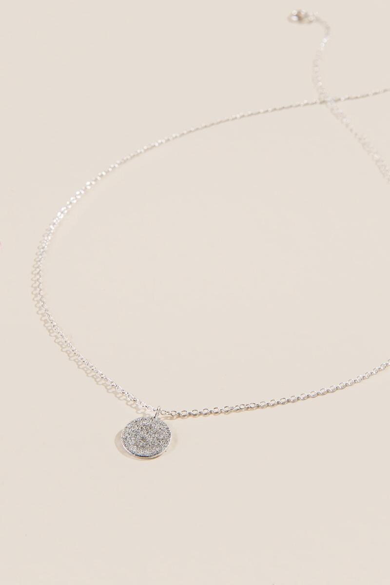 Jordon Medallion Necklace-  silv-cl