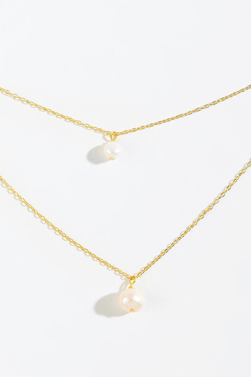 Amber Freshwater Pearl Layered Necklace- Pearl