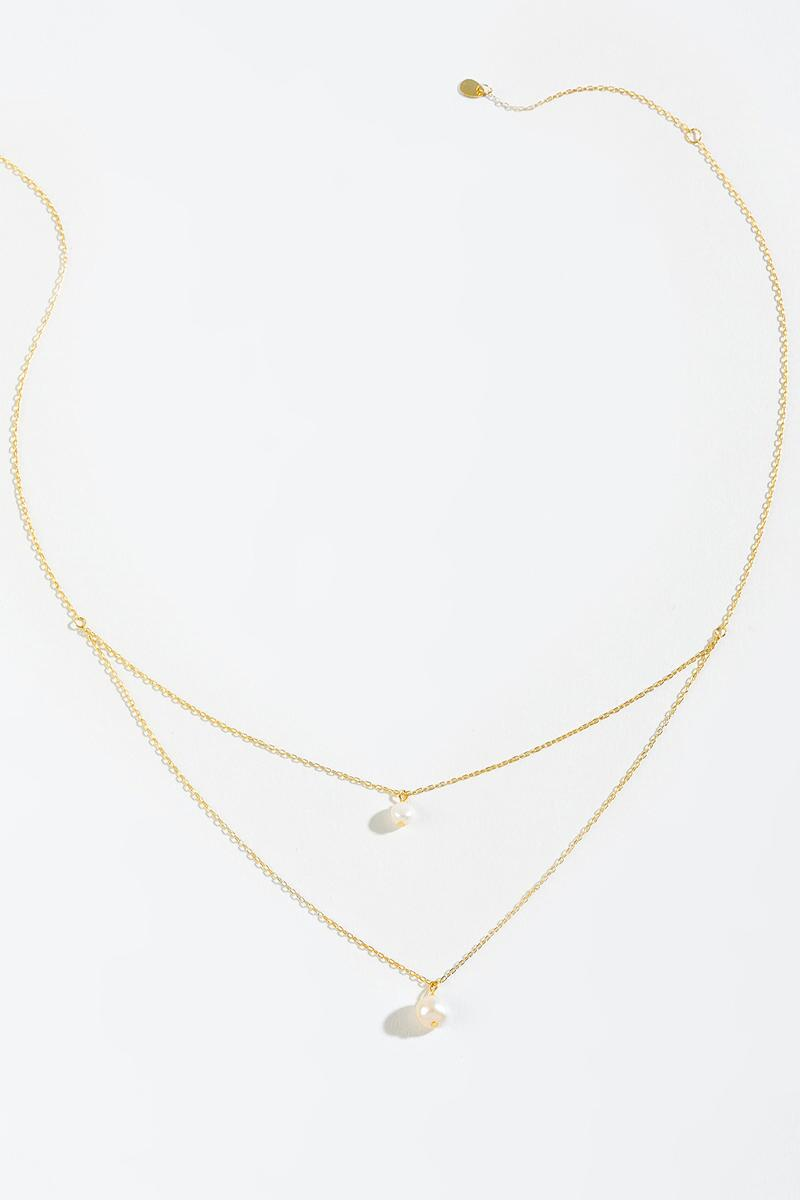 Amber Freshwater Pearl Layered Necklace- Pearl 3