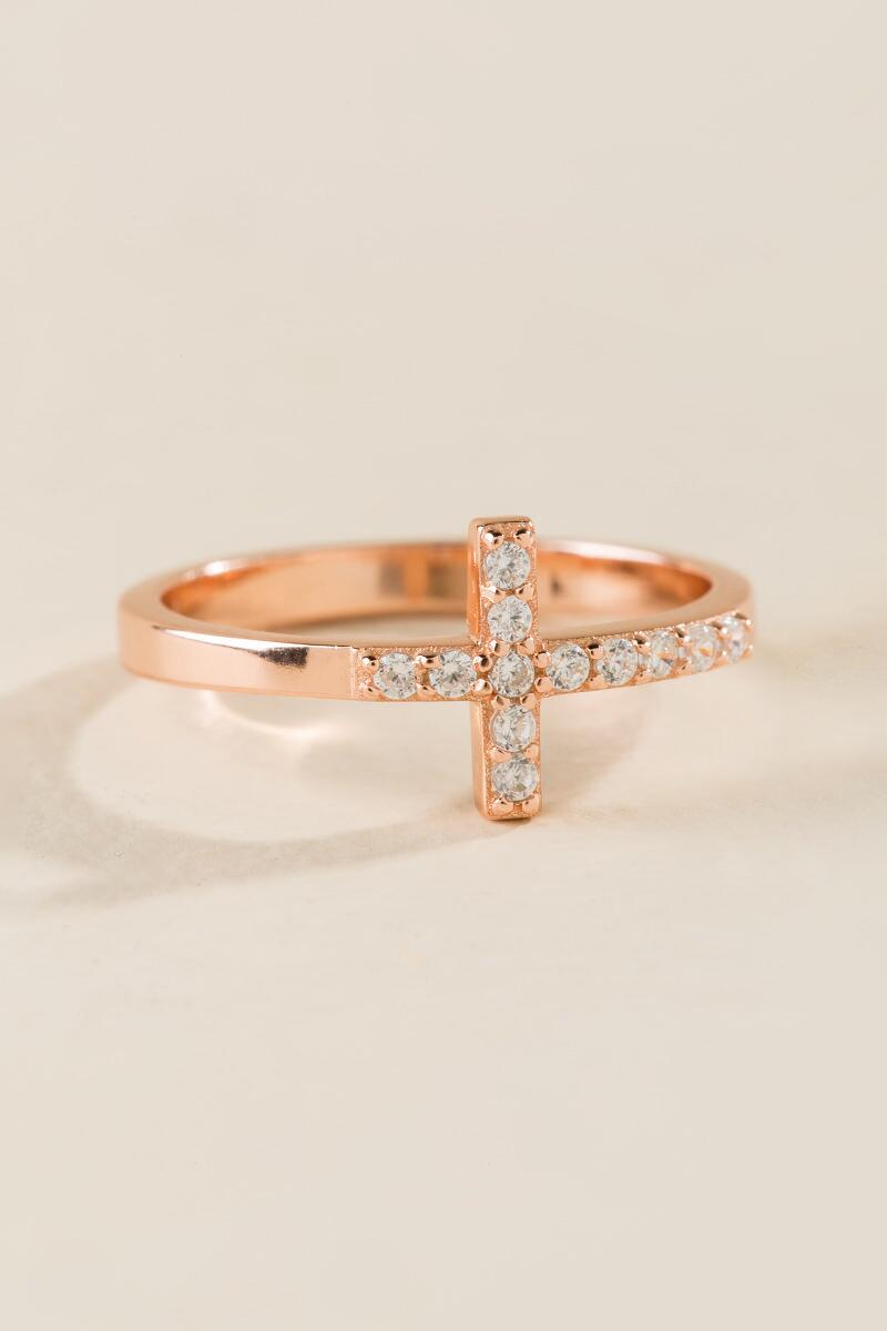 Crystal Cross Ring in Rose Gold