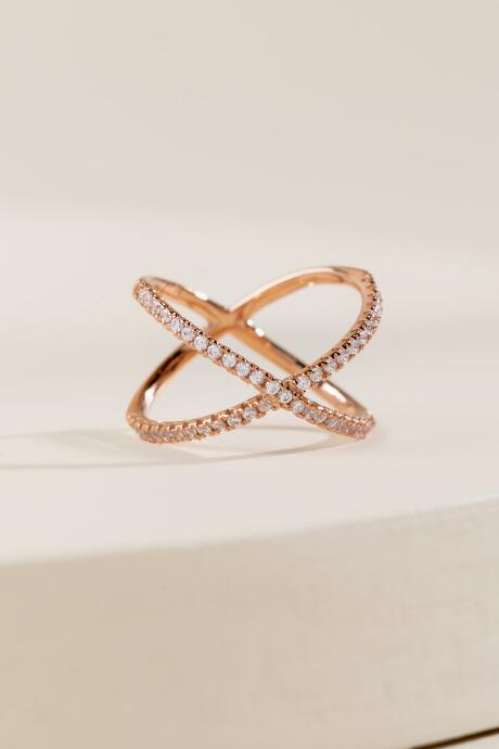 Lola Cubic Zirconia Ring in Rose Gold